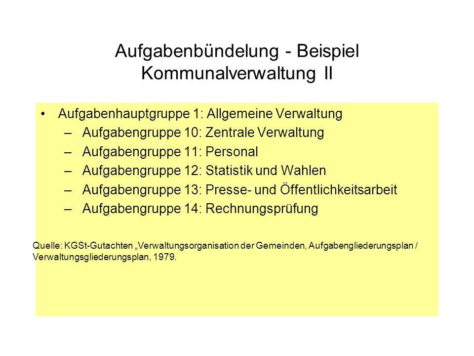 Aufgabenbündelung - Beispiel Kommunalverwaltung II