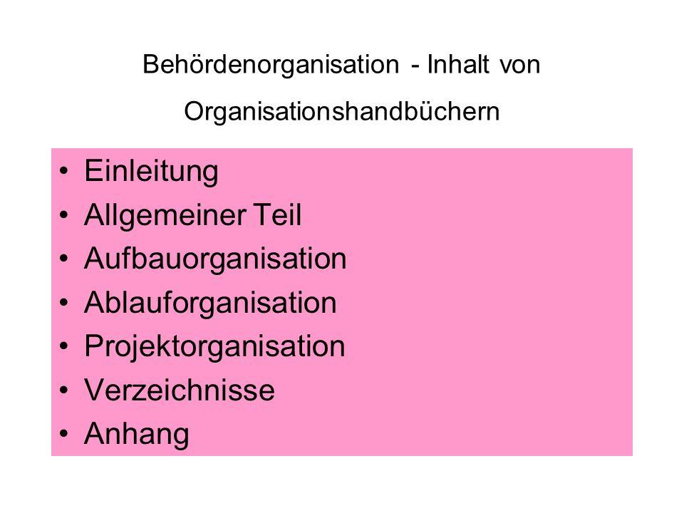 Behördenorganisation - Inhalt von Organisationshandbüchern