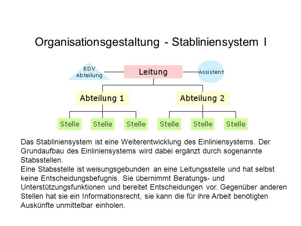 Organisationsgestaltung - Stabliniensystem I