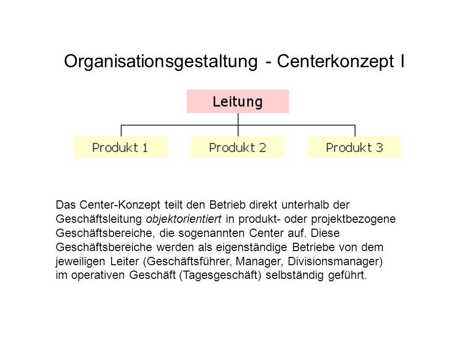Organisationsgestaltung - Centerkonzept I