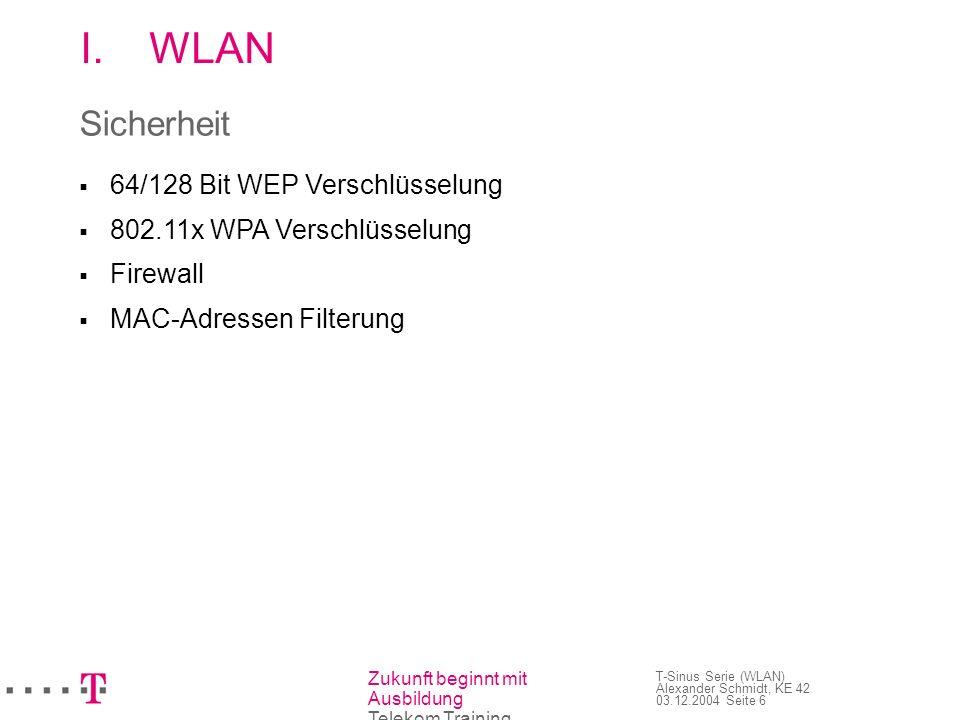 WLAN Sicherheit  64/128 Bit WEP Verschlüsselung