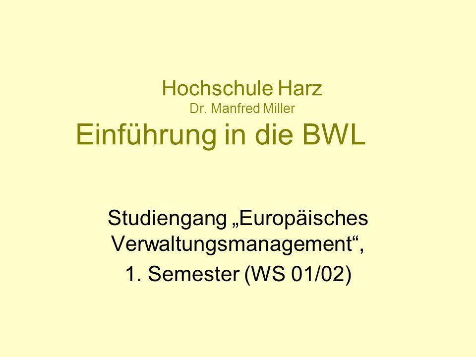 Hochschule Harz Dr. Manfred Miller Einführung in die BWL