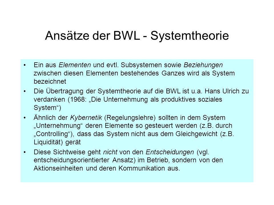 Ansätze der BWL - Systemtheorie