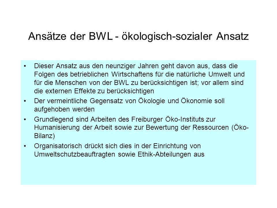 Ansätze der BWL - ökologisch-sozialer Ansatz