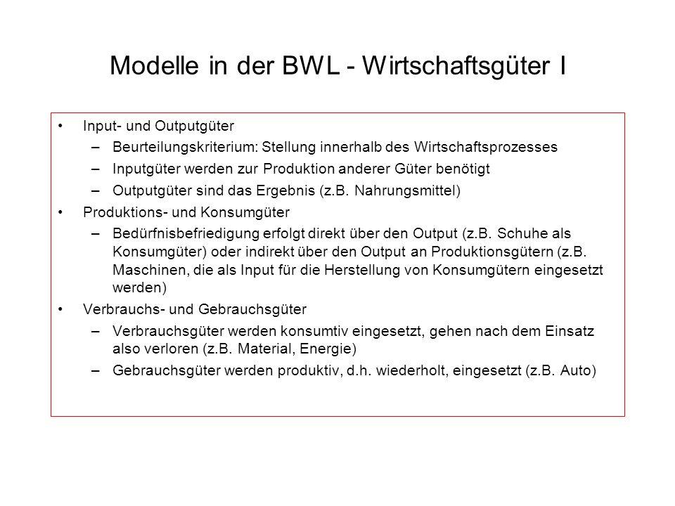 Modelle in der BWL - Wirtschaftsgüter I