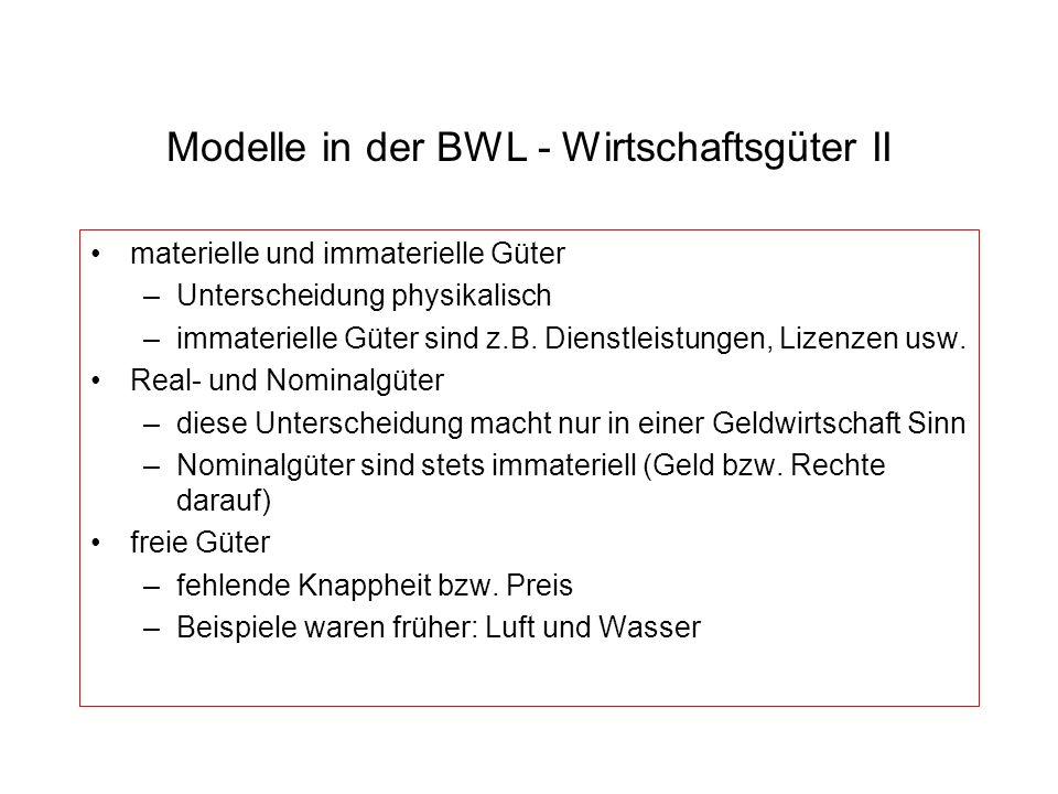 Modelle in der BWL - Wirtschaftsgüter II