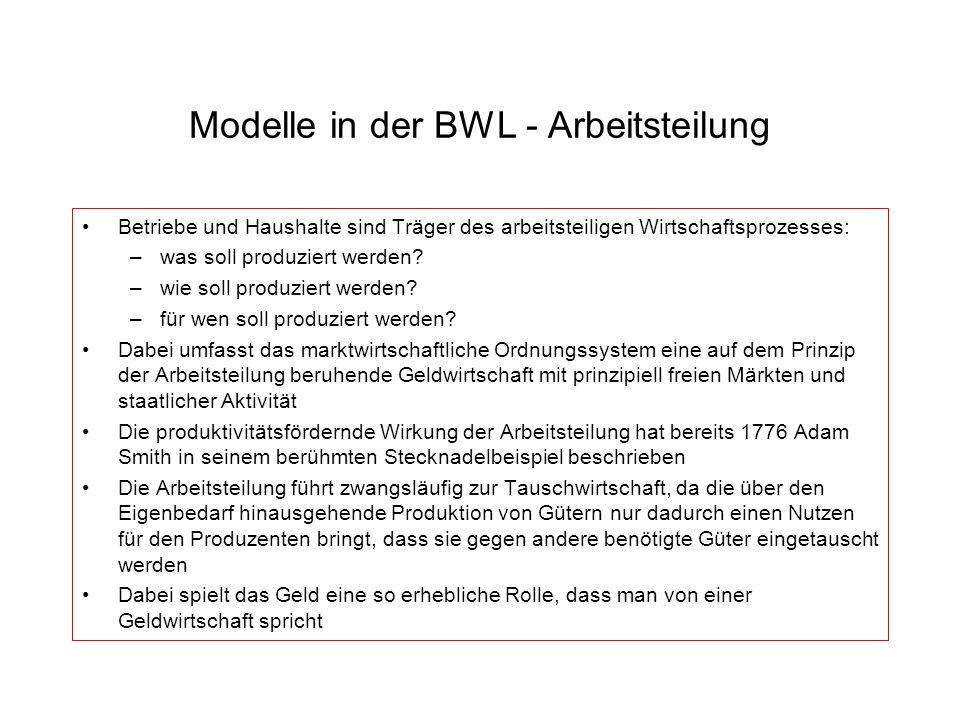Modelle in der BWL - Arbeitsteilung