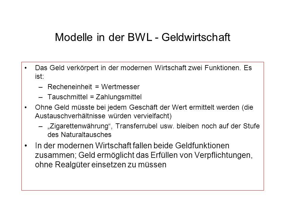 Modelle in der BWL - Geldwirtschaft