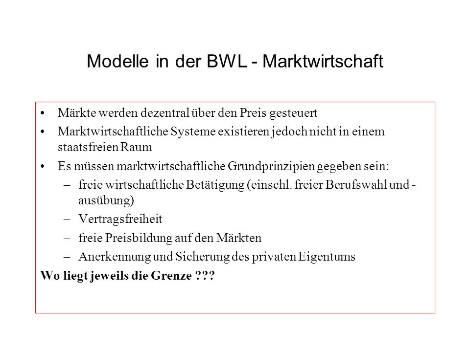 Modelle in der BWL - Marktwirtschaft