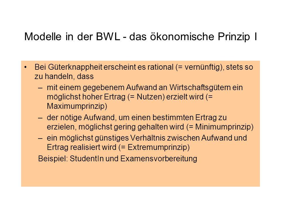 Modelle in der BWL - das ökonomische Prinzip I