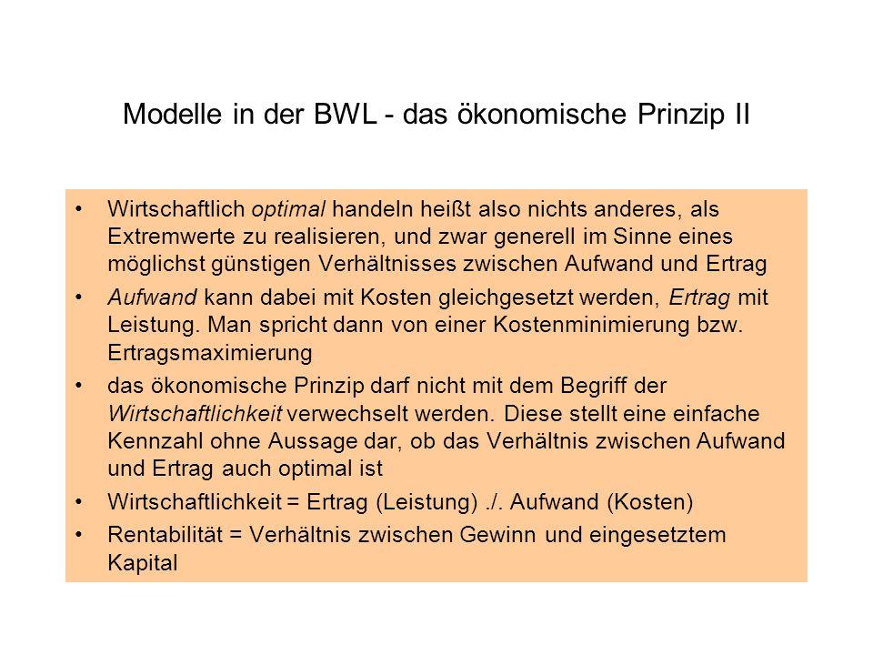 Modelle in der BWL - das ökonomische Prinzip II