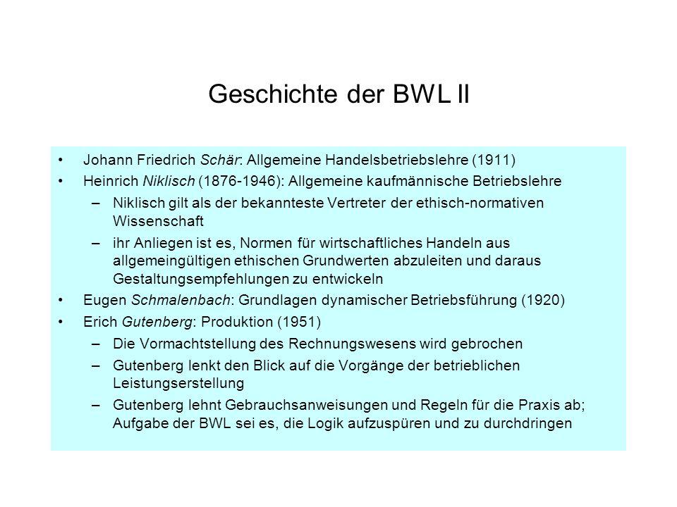 Geschichte der BWL II Johann Friedrich Schär: Allgemeine Handelsbetriebslehre (1911)