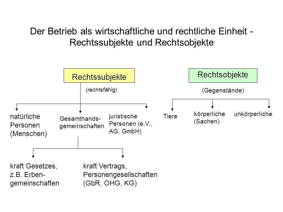 Der Betrieb als wirtschaftliche und rechtliche Einheit - Rechtssubjekte und Rechtsobjekte