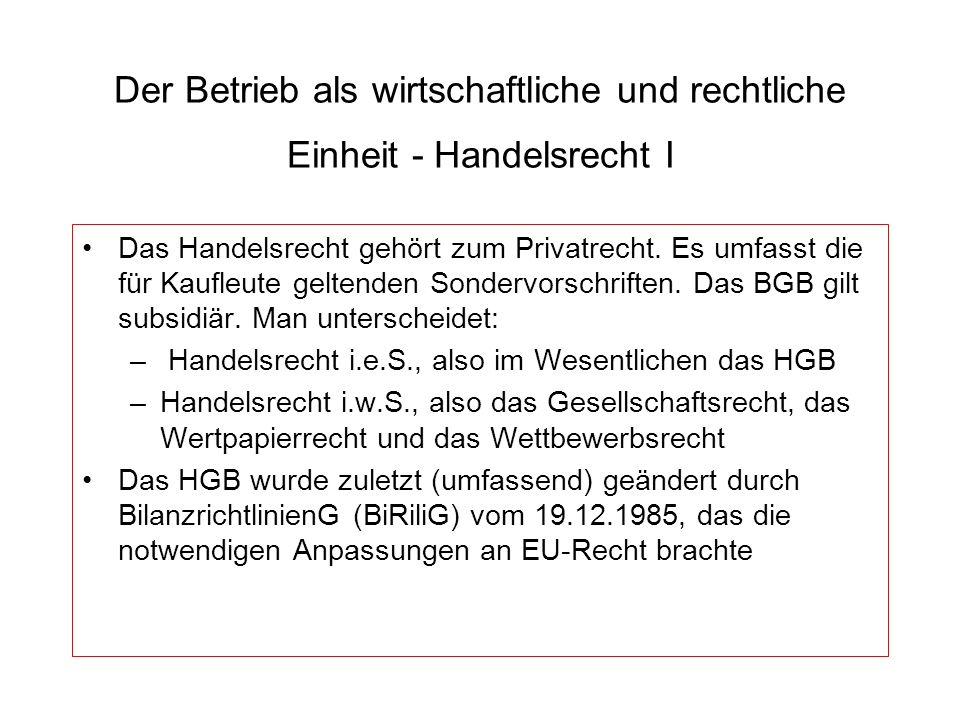 Der Betrieb als wirtschaftliche und rechtliche Einheit - Handelsrecht I