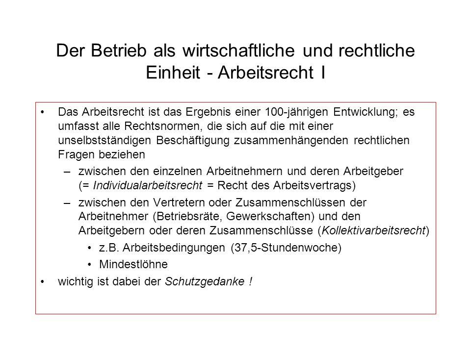 Der Betrieb als wirtschaftliche und rechtliche Einheit - Arbeitsrecht I
