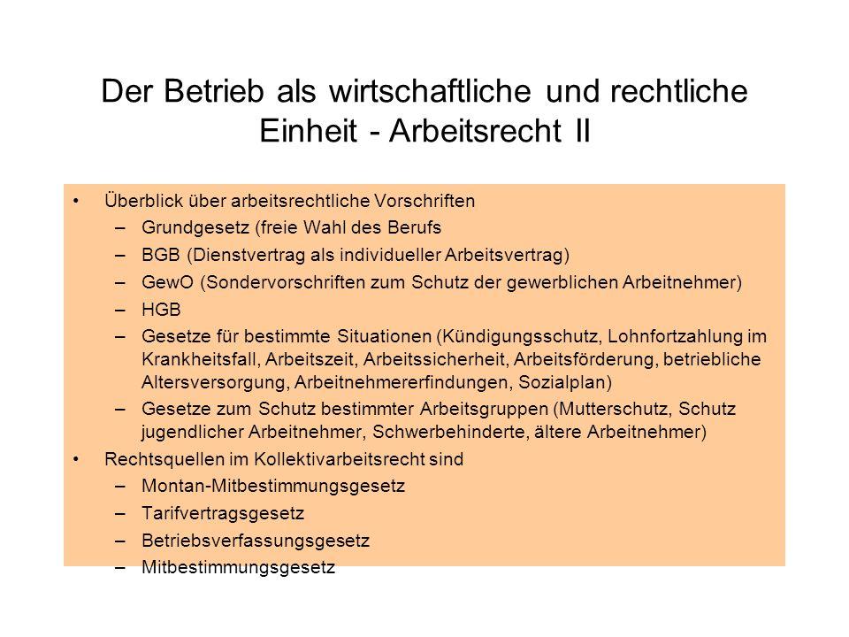 Der Betrieb als wirtschaftliche und rechtliche Einheit - Arbeitsrecht II