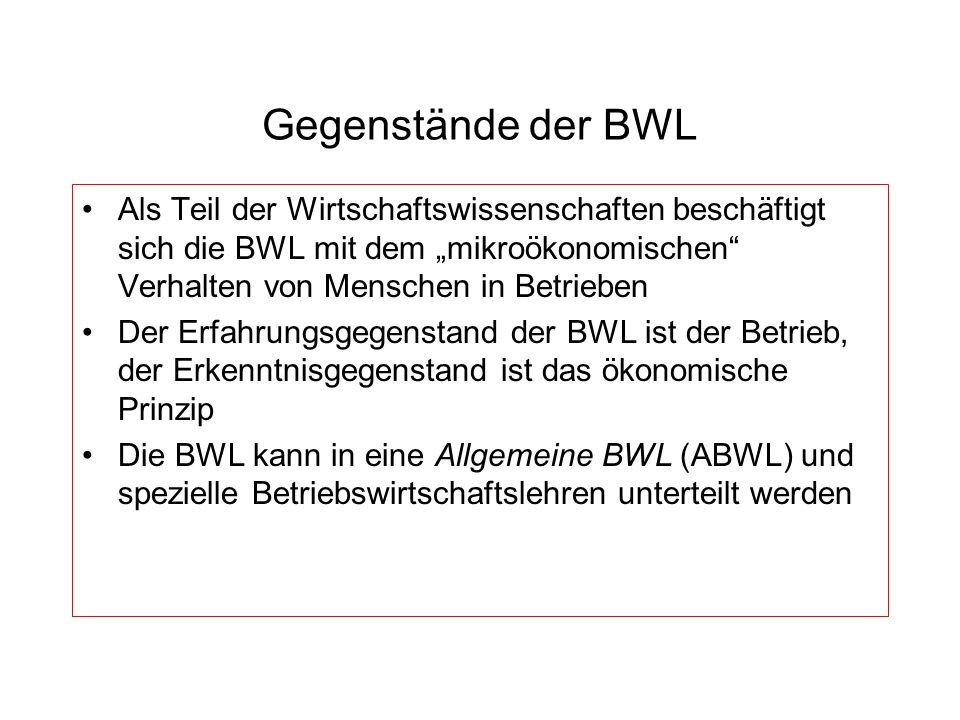 """Gegenstände der BWLAls Teil der Wirtschaftswissenschaften beschäftigt sich die BWL mit dem """"mikroökonomischen Verhalten von Menschen in Betrieben."""