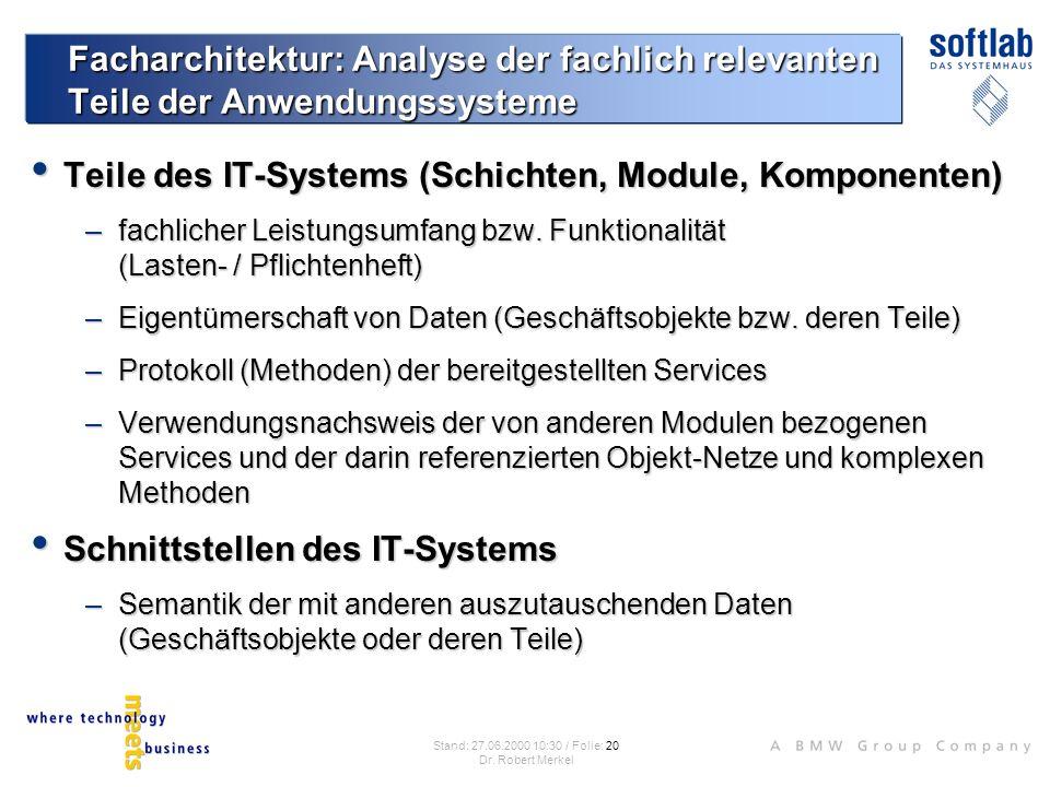 Teile des IT-Systems (Schichten, Module, Komponenten)