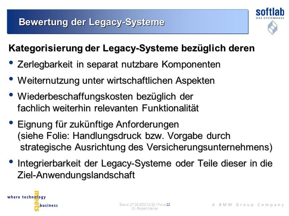 Bewertung der Legacy-Systeme