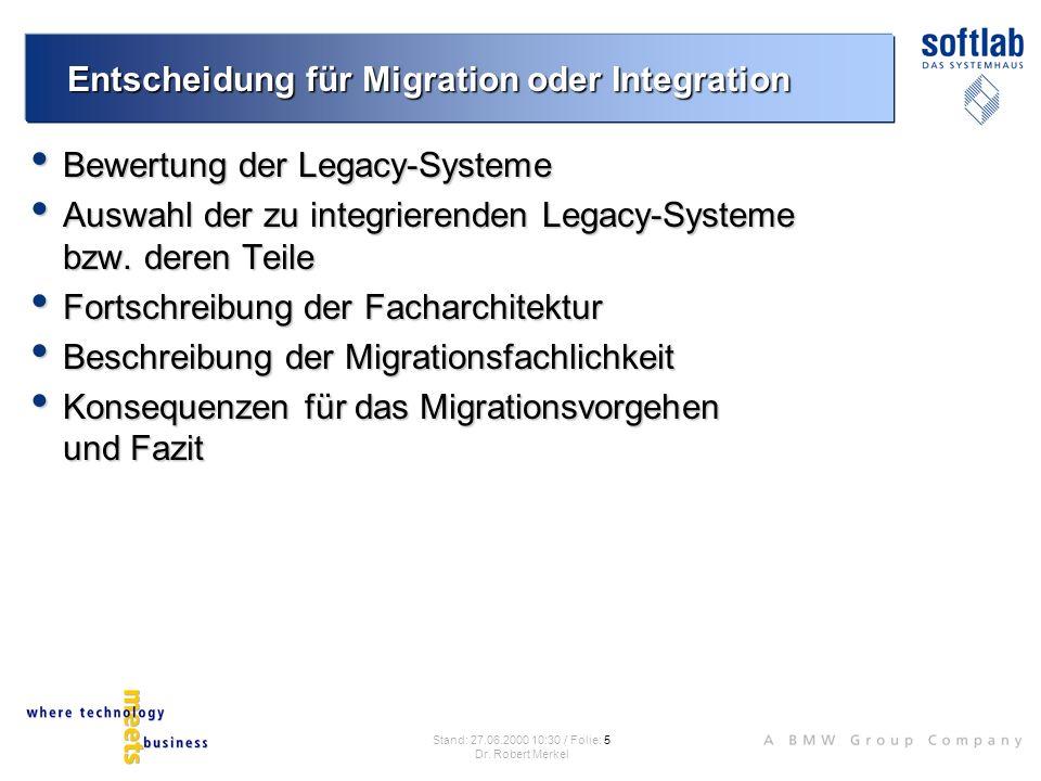 Entscheidung für Migration oder Integration