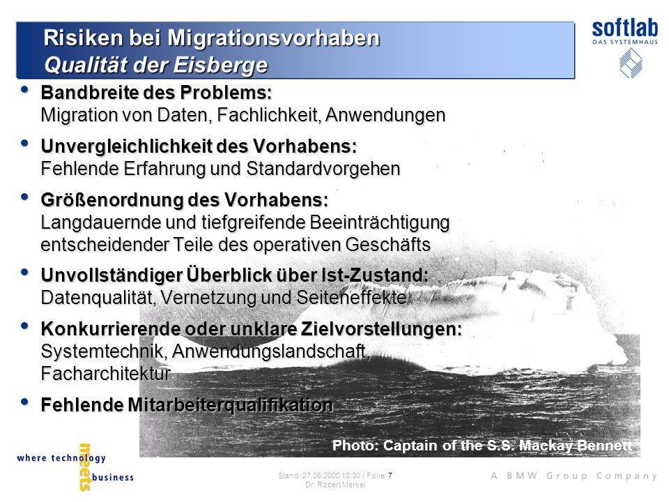 Risiken bei Migrationsvorhaben Qualität der Eisberge