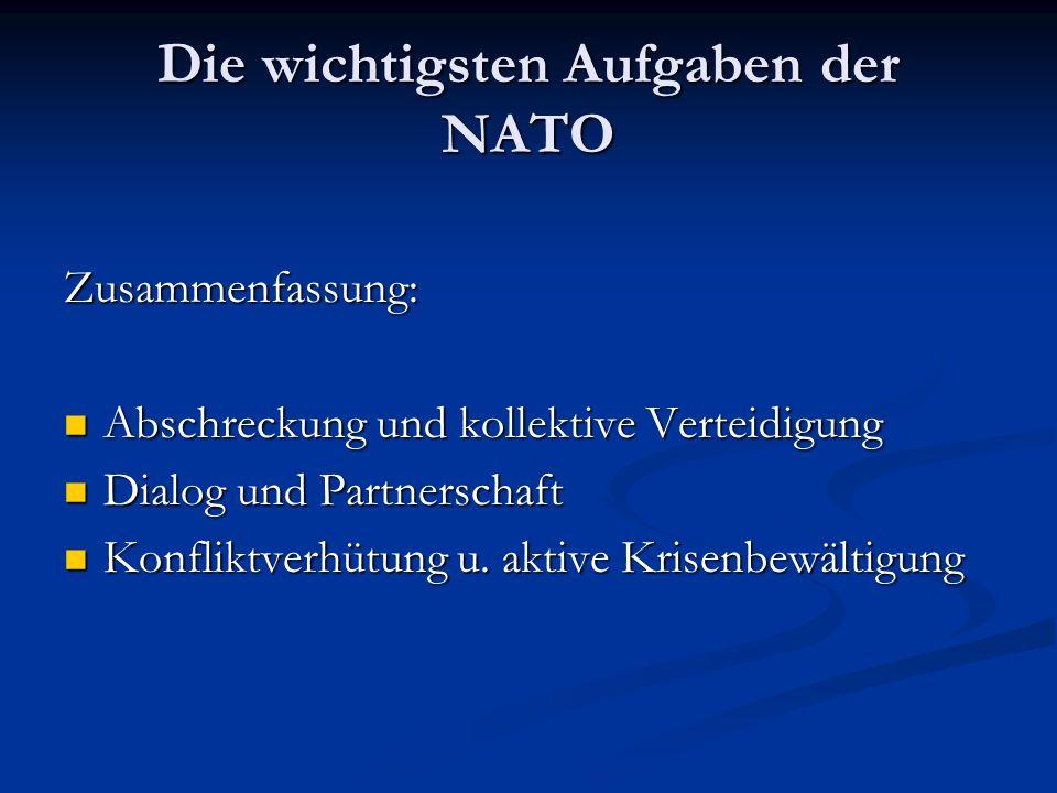 Die wichtigsten Aufgaben der NATO