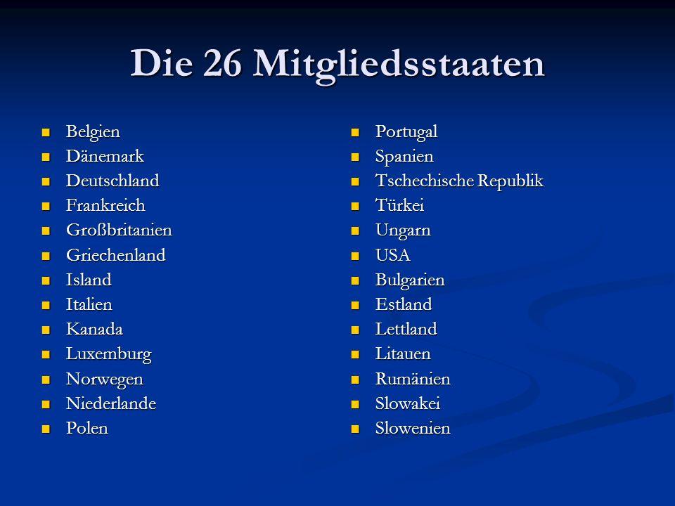 Die 26 Mitgliedsstaaten Belgien Dänemark Deutschland Frankreich