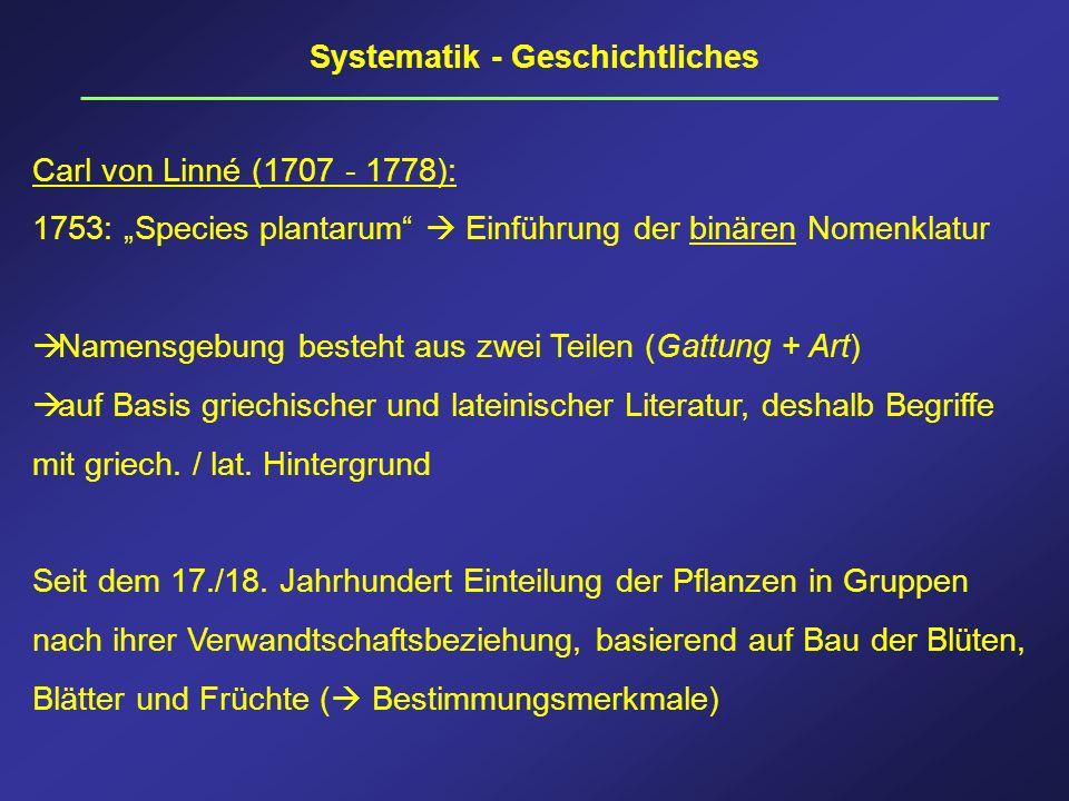 Systematik - Geschichtliches