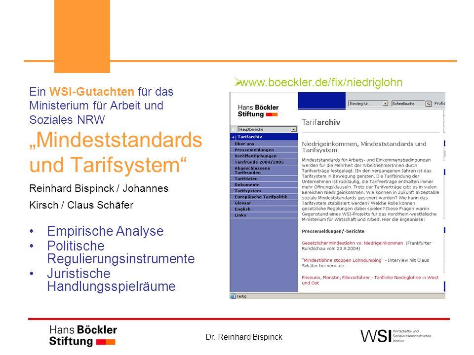 """""""Mindeststandards und Tarifsystem Empirische Analyse"""