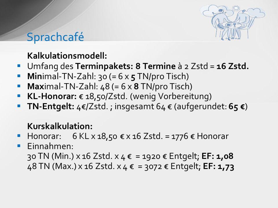 Sprachcafé Kalkulationsmodell: