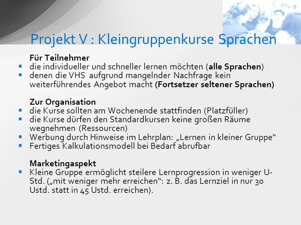 Projekt V : Kleingruppenkurse Sprachen