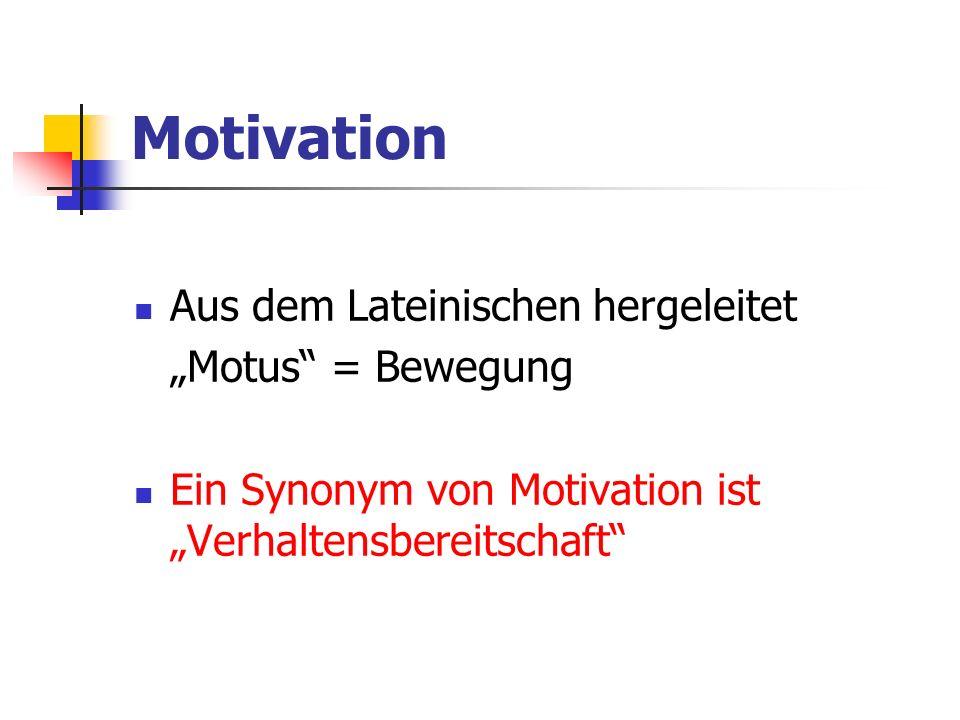 """Motivation Aus dem Lateinischen hergeleitet """"Motus = Bewegung"""
