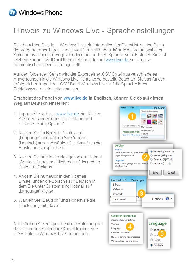 Hinweis zu Windows Live - Spracheinstellungen