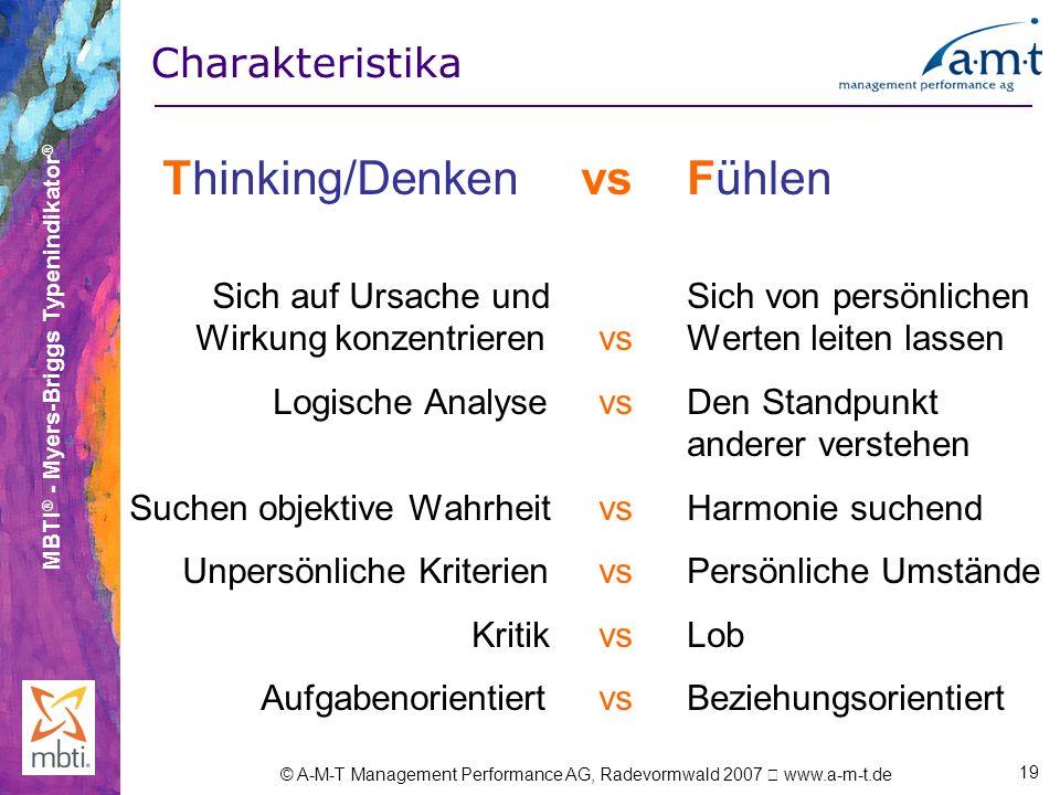 Thinking/Denken vs Fühlen Charakteristika