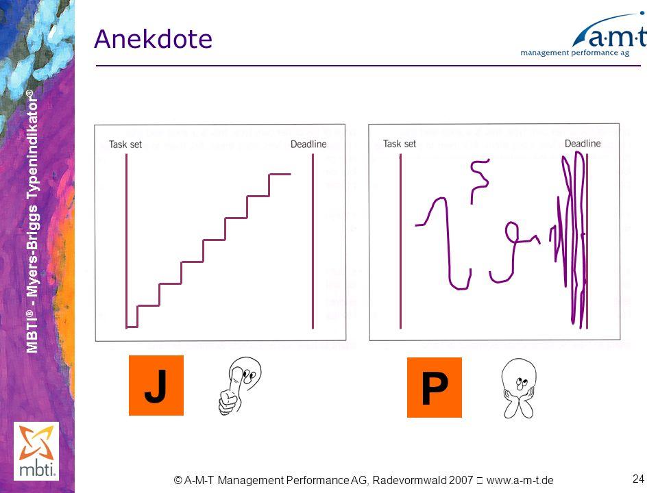 Anekdote Sehr gut geeignet um das Präferenzpaar J und P darzustellen. J P