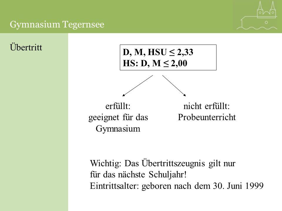 Gymnasium TegernseeGymnasium Tegernsee. Übertritt. D, M, HSU ≤ 2,33 HS: D, M ≤ 2,00. erfüllt: geeignet für das.