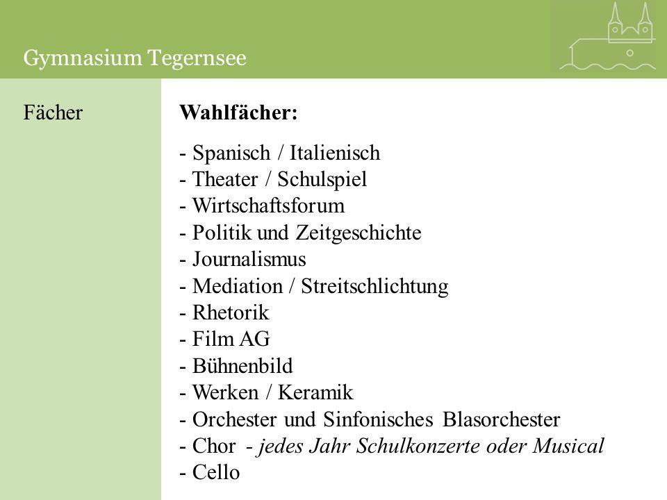 Gymnasium TegernseeGymnasium Tegernsee. Fächer. Wahlfächer: Spanisch / Italienisch. Theater / Schulspiel.