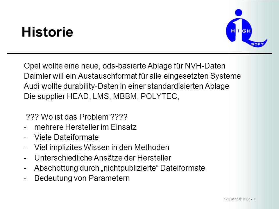 Historie Opel wollte eine neue, ods-basierte Ablage für NVH-Daten