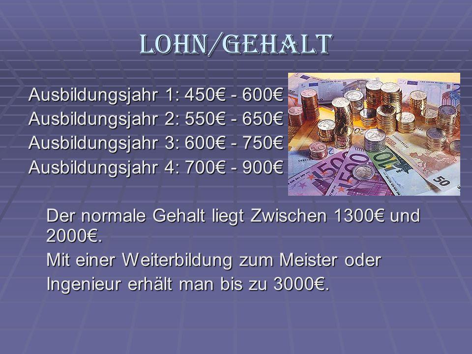Lohn/Gehalt Ausbildungsjahr 1: 450€ - 600€
