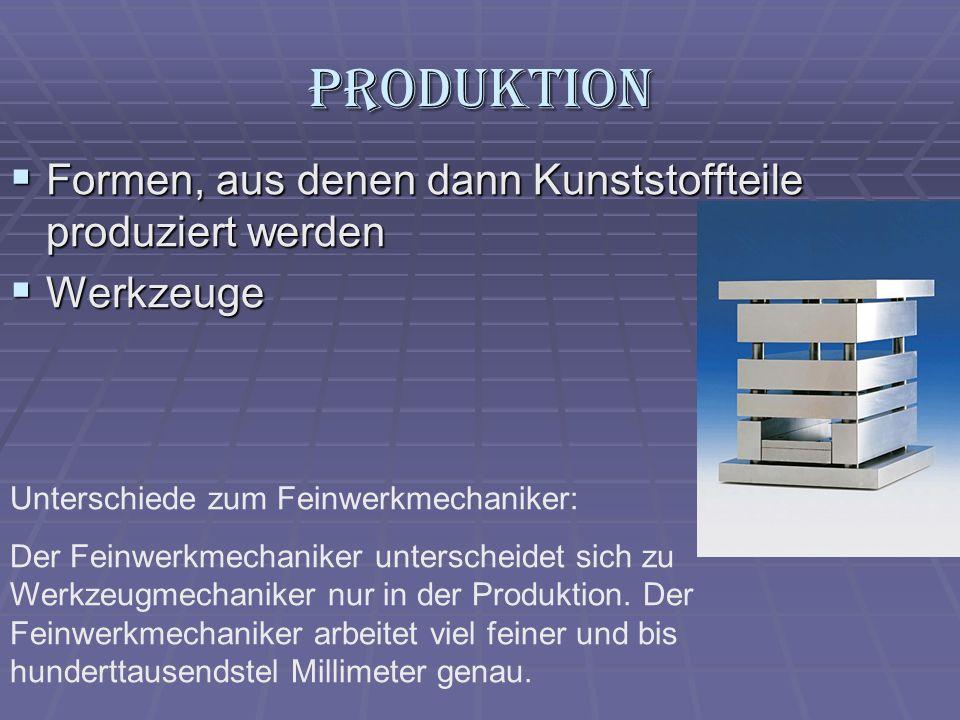 Produktion Formen, aus denen dann Kunststoffteile produziert werden