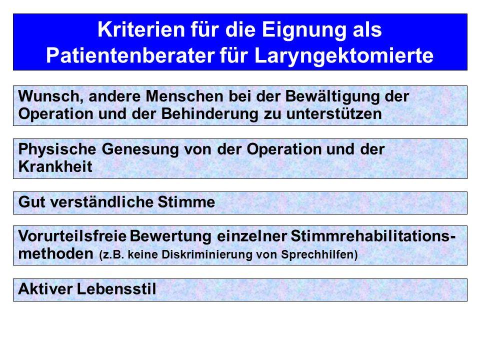 Kriterien für die Eignung als Patientenberater für Laryngektomierte