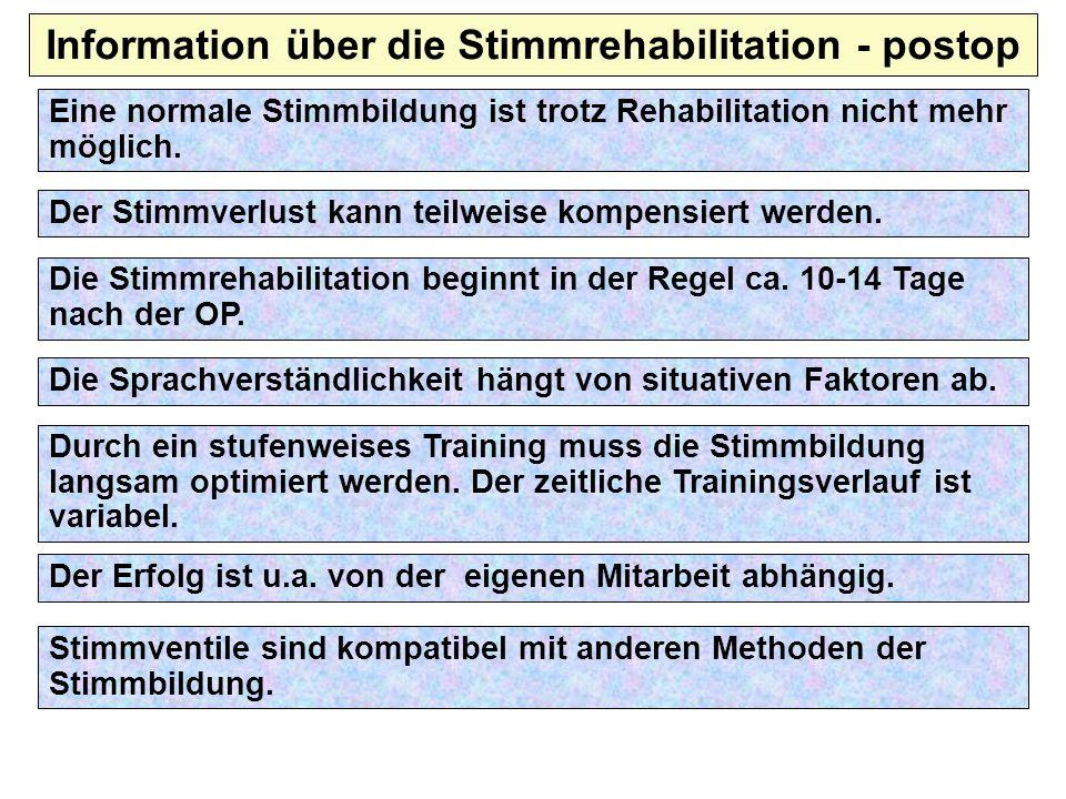 Information über die Stimmrehabilitation - postop