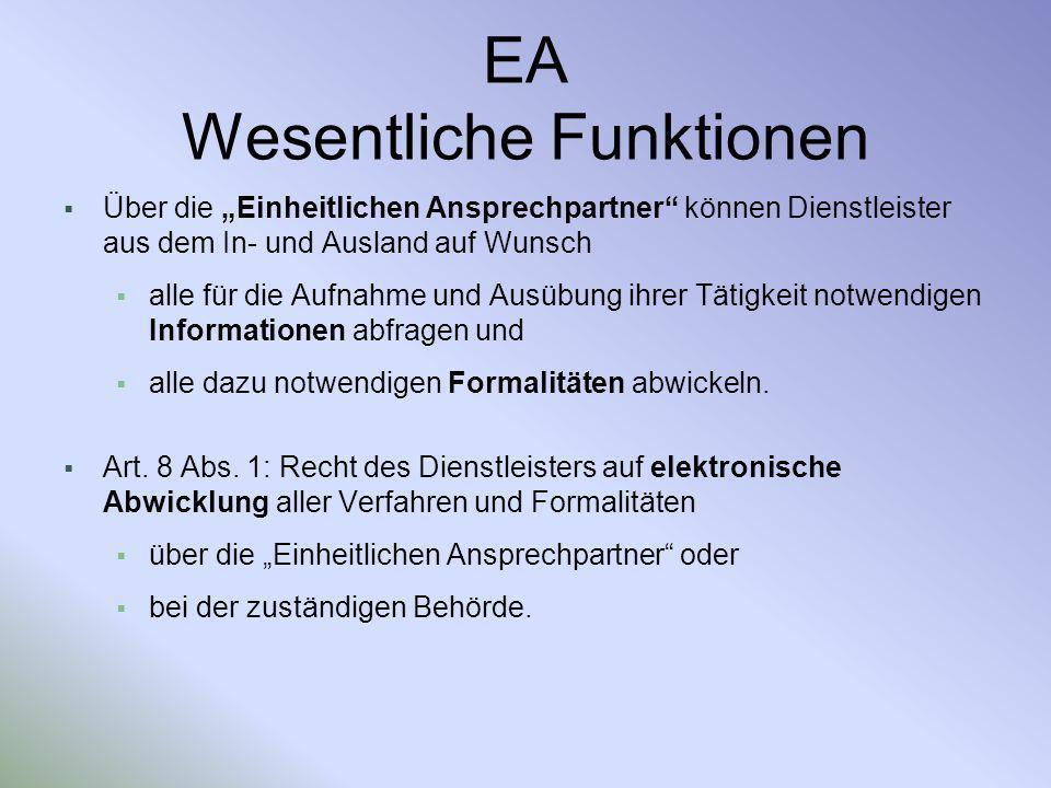 EA Wesentliche Funktionen