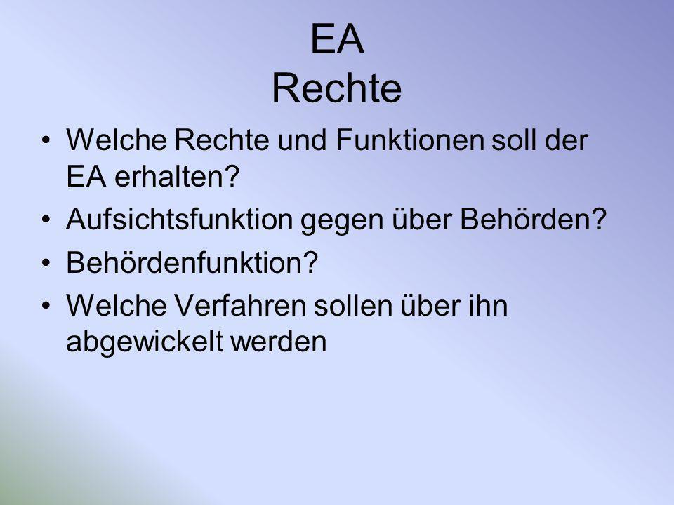 EA Rechte Welche Rechte und Funktionen soll der EA erhalten