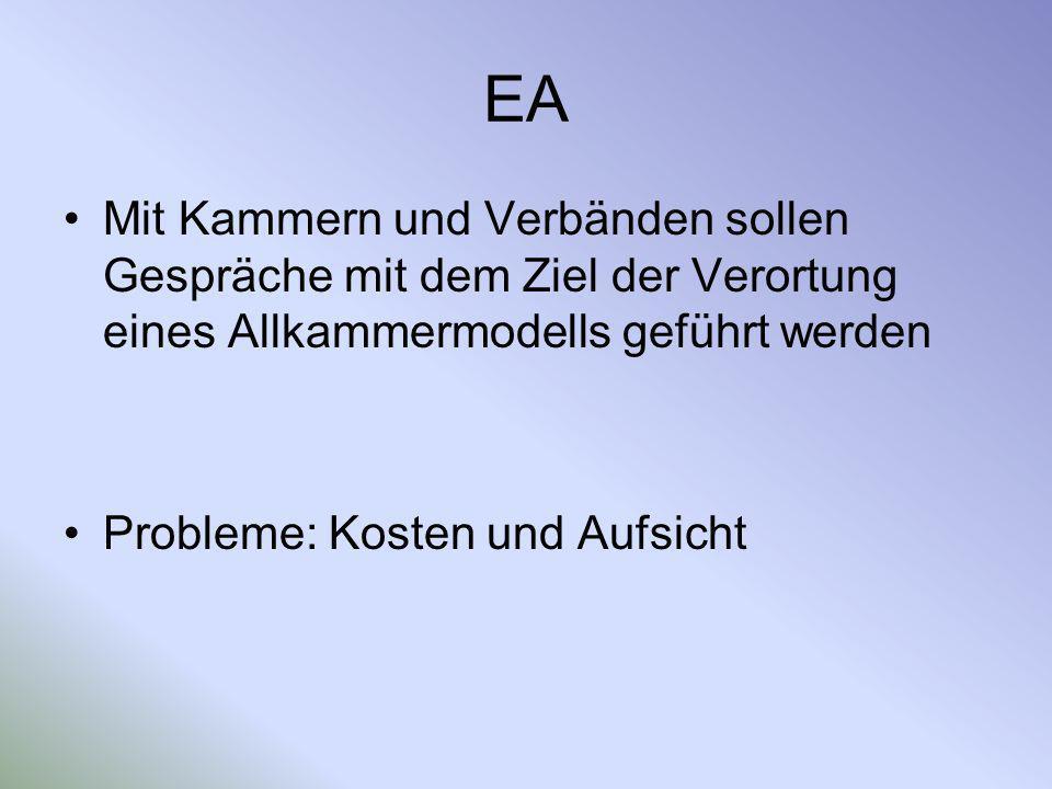 EA Mit Kammern und Verbänden sollen Gespräche mit dem Ziel der Verortung eines Allkammermodells geführt werden.