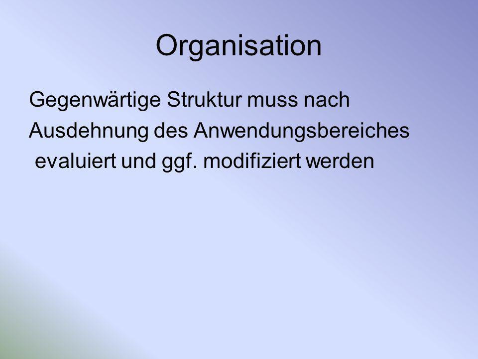 Organisation Gegenwärtige Struktur muss nach