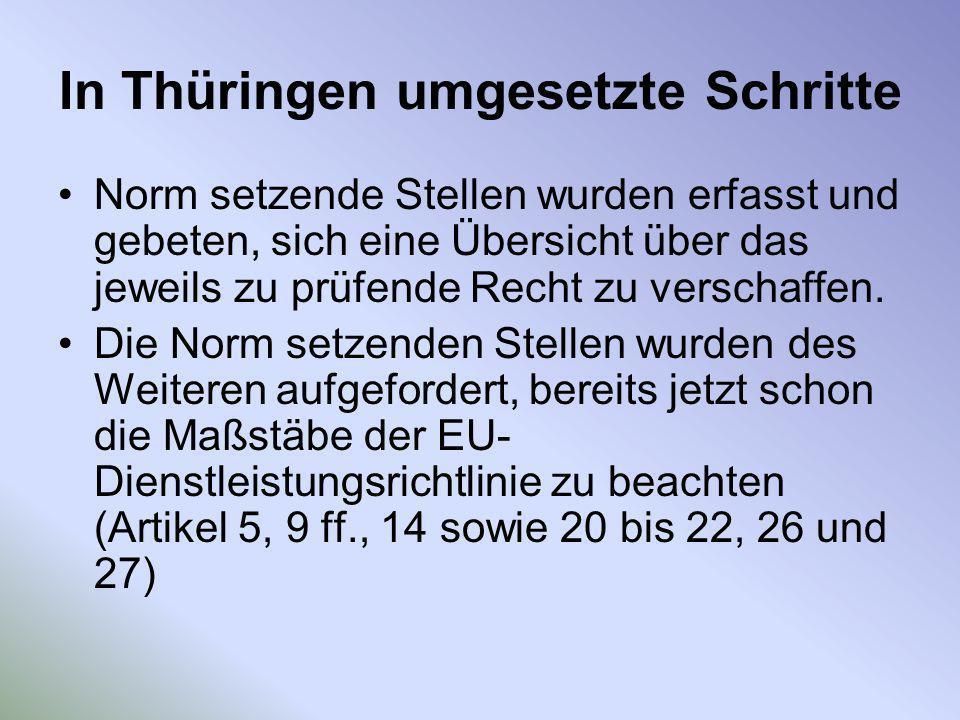 In Thüringen umgesetzte Schritte