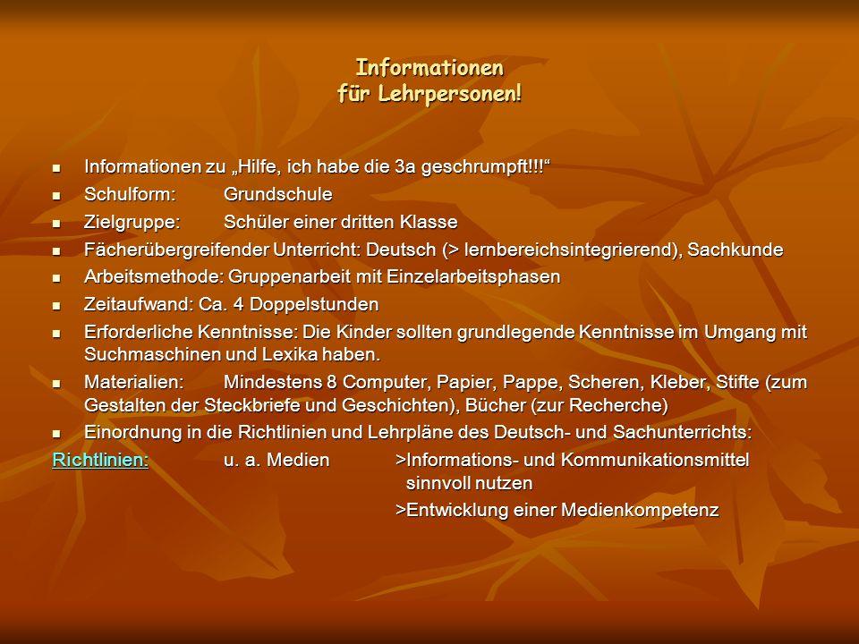 Informationen für Lehrpersonen!