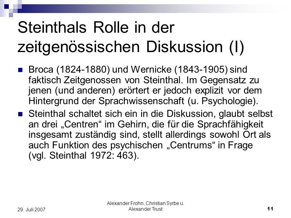 Steinthals Rolle in der zeitgenössischen Diskussion (I)