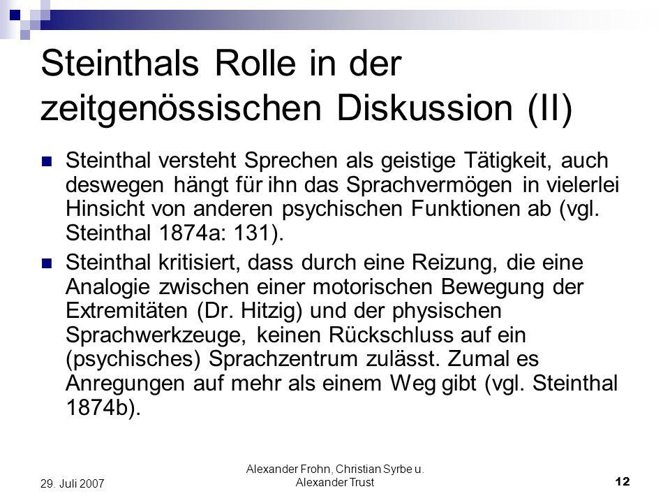 Steinthals Rolle in der zeitgenössischen Diskussion (II)